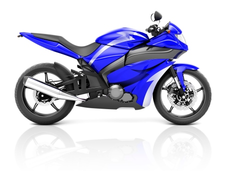 3D Image of a Blue Modern Motorbike