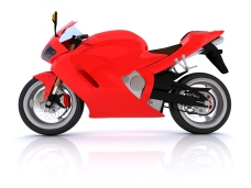 Red Motorcycle. Digitally Generated Image isolated on white background