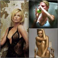 Charlize Theron smokes old school with a homemade apple pipe