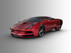 Red sports car on grey background