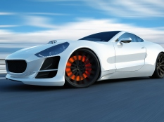 This white sport car is a concept design is made by myself. This super sport car comes without any manufacture brands. The image is a CGI.