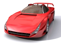 3D Model of red sports concept car, with clipping path, isolated on white background