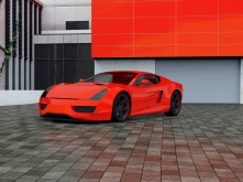 Sport car parking in front of a house. Full CGI shot made by my self. Showing a ficitonal concept car without brand.